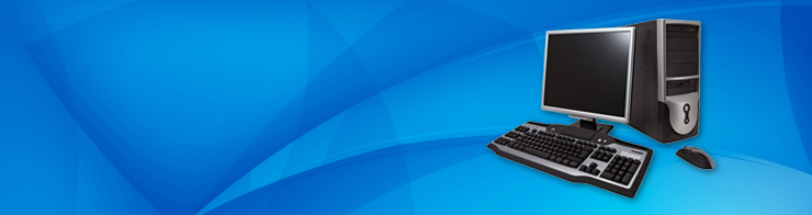 Computer on abstract blue background