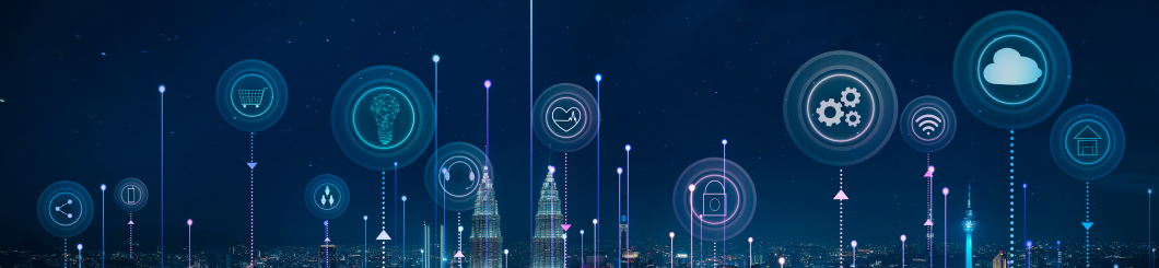 cloud-based network skyline graphic