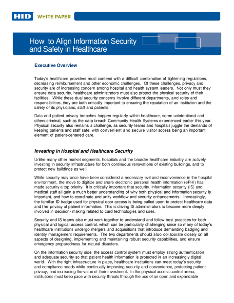 How to Align Information Security and Safety in Healthcare White Paper