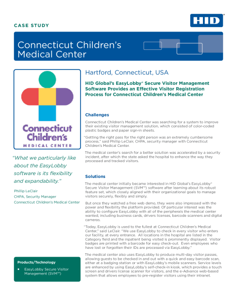 Connecticut Children's Medical Center Case Study