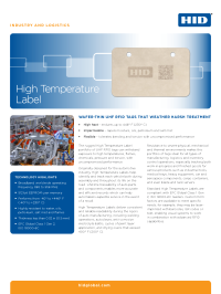 High-Temperature Label Data Sheet