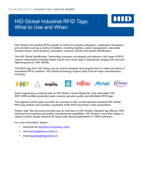 HID Global Industrial RFID Tags: What to Use When White Paper